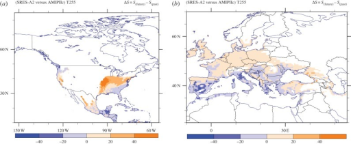(a) North American and (b) European maps of the habitat suitability change between the future and reference periods. Areas with hsi less than 10% have not been considered.