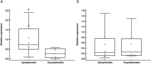 Differential expression of HMGB1 and ARG1 in carotid atheroma biopsies of patients with and without symptoms of cerebral embolization.Increased expression of HMGB1 (A; *P = 0.02) but not ARG1 (B; P = 0.82) within carotid atheroma biopsies of symptomatic compared to asymptomatic patients. Data expressed as median and interquartile range with maximum and minimum data points (whiskers) for relative expression.