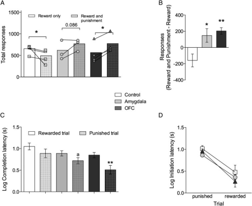 Depletion of 5-HT in the amygdala or OFC abolishes punishment-induced suppression but leaves intact sensitivity to aversive outcomes. (A) Total responses made by 5-HT amygdala- and OFC-depleted animals and sham-operated controls before (open bars) and after (hatched bars) the introduction of punishment. (B) Change in responding after punishment introduction. (C) Log latency to complete trials after the VI schedule has elapsed and (D) log latency to initiate responding after receiving punishment and reward. Data presented as mean ± SEM, *P ≤ 0.05, **P ≤ 0.01, aP = 0.068.