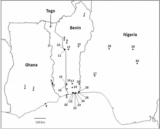 Map of the Central African region where hoverflies were collected (Ghana—Togo—Benin—Nigeria), showing the sampling localities (for more details see the S1 Table).