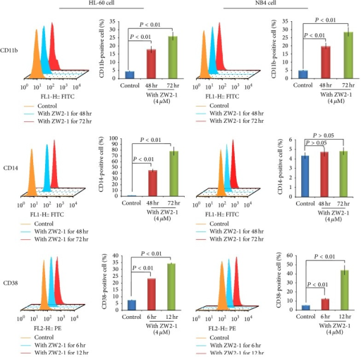 Effects of ZW2-1 on CD11b, CD14, and CD38 expression. Flow cytometric analysis of expression of CD11b and CD14 at 0, 48, and 72 hr after treatment with ZW2-1, respectively, and expression of CD38 at 0, 6, and 12 hr after treatment with ZW2-1. To measure the percent positive signal, control group was set to exclude about 95% of the live cell population peak. All experiments are presented as mean ± SD of three independent experiments performed in replicates.