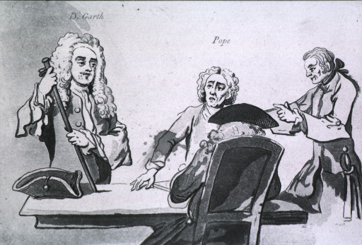 <p>Group showing characters standing and sitting around table.  Garth is to the left supporting himself with his walking stick.</p>