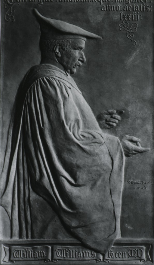 <p>Bas relief:  Three-quarter length, right profile; wearing academic robes.</p>