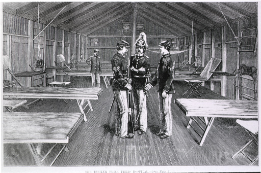 <p>Interior of the Ducker prize field hospital [a prize given by the Empress of Germany for a design by W.F. Ducker].</p>