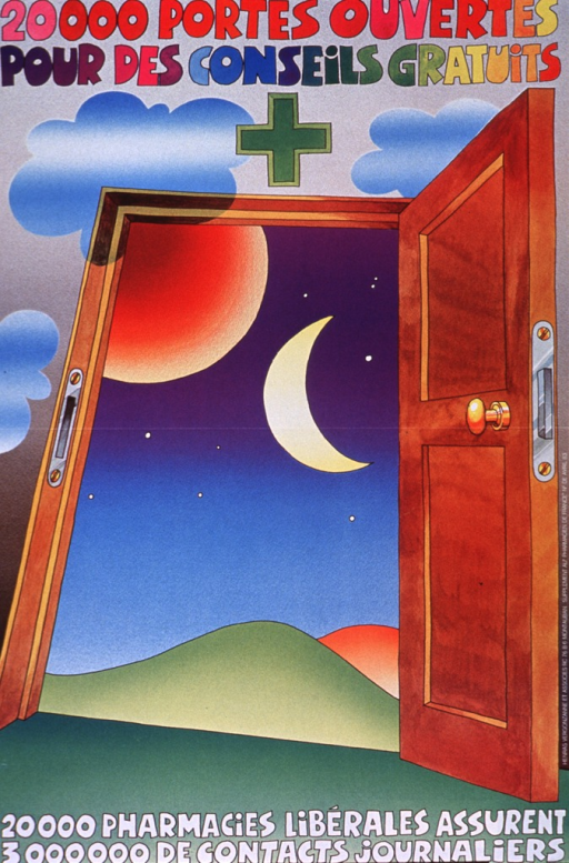 <p>Multicolor poster.  Title at top of poster.  Visual image is an illustration of an open door.  The view outside is the night sky, including a crescent moon and several stars.  Caption at bottom of poster states that twenty thousand free pharmacies assure three million daily contacts.  Note on right side of poster indicates that the poster was part of a supplement to the publication &quot;Pharmacien de France.&quot;</p>