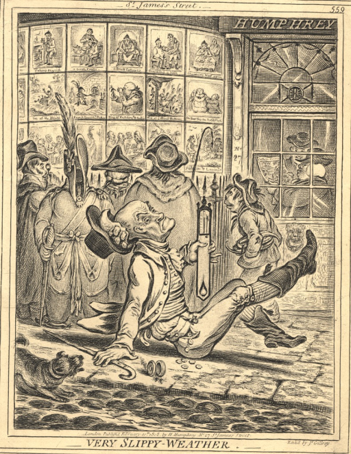 <p>An exterior view of the shop of Gillray's publisher, Humphrey, with a crowd assembled before the display of Gillray's prints in the window. A man holding a thermometer slips on the pavement in the foreground. He holds a thermometer in one hand and a cane in the other. Coins spill from his pocket. A small dog approaches him.</p>