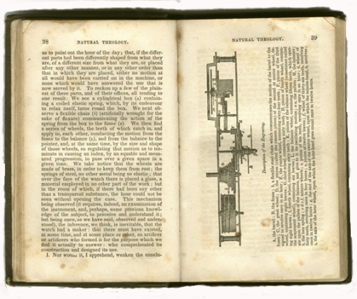 <p>Image of page 38 (text only) and 39 of William Paley's Natural theology, containing engraving of watch movement with labeled parts and corresponding explanatory text (page 39).</p>
