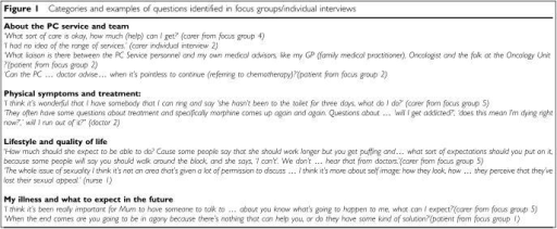 Categories and examples of questions identified in focus groups/individual interviews