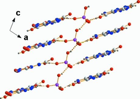 Partial packing view showing H2PO4- infinite zigzag chain running parallel to [001]direction and how it links the layers together. Hydrogen bonds are shown as dashed lines.