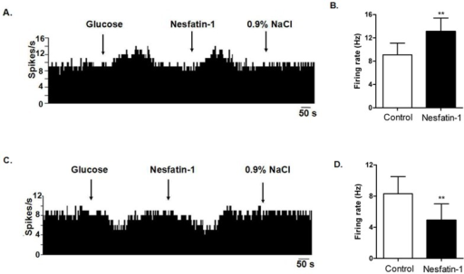 Effect of nesfatin-1 on glucosensing neurons in the dorsal vagal complex (DVC).(A). A GE-neuron was excited by nesfatin-1.The first arrow indicates 5 mM glucose, the second arrow indicates nesfatin-1 (1.5×10−8 M), and the third arrow indicates 0.9% NaCl-treated control. (B). Changes in firing rate after application of nesfatin-1 (n = 20, **P<0.01). (C). A GI-neuron was inhibited by nesfatin-1. (D). Changes in firing rate after application of nesfatin-1 (n = 33, **P<0.01).