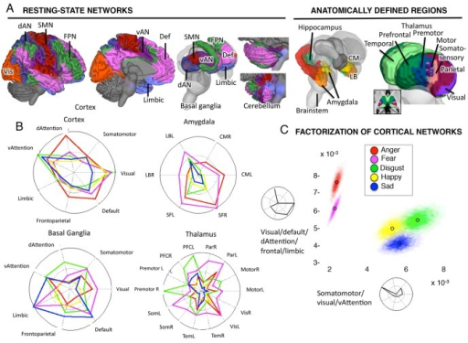Emotion-predictive patterns of activity across cortical networks and subcortical regions.A) Left: Seven resting-state connectivity networks from the Buckner Lab with cortical, basal ganglia, and cerebellar components. Colors reflect the network membership. Right: Published anatomical parcellations were used to supplement the resting-state networks to identify sub-regions in amygdala (131), hippocampus (131, 132), and thalamus (133). dAN: dorsal attention network; Def: default mode network; FPN: fronto-parietal network; Limbic: limbic network; SMN: somatomotor network; vAN: ventral attention network; Vis: visual network. B) The profile of activation intensity across the 7 cortical and basal ganglia resting-state networks, and anatomical amygdalar and thalamic regions. Colors indicate different emotion categories, as in Fig. 1. Red: anger; green: disgust; purple: fear; yellow: happiness; blue: sadness. Values farther toward the solid circle indicate greater average intensity in the network (i.e., more expected study centers). C) Two canonical patterns estimated using non-negative matrix factorization, and the distribution of intensity values for each emotion across the two canonical patterns. The colored area shows the 95% joint confidence interval (confidence ellipsoids) derived from the 10,000 Markov chain Monte Carlo samples in the Bayesian model. Non-overlapping confidence ellipsoids indicate significant differences across categories in the expression of each profile.