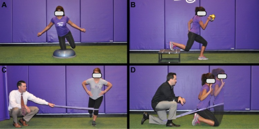 Late stage hip-focused exercises.Notes: (A) BOSU single knee balance. (B) Weighted runner. (C) Resisted band single leg squats. (D) Resisted vertical bridge. Note that the resisted band in (C) should apply a slight force that progresses the athlete to activate the hip musculature to prevent lower extremity valgus. Care should be taken to progress the exercises and magnitude of resistance.