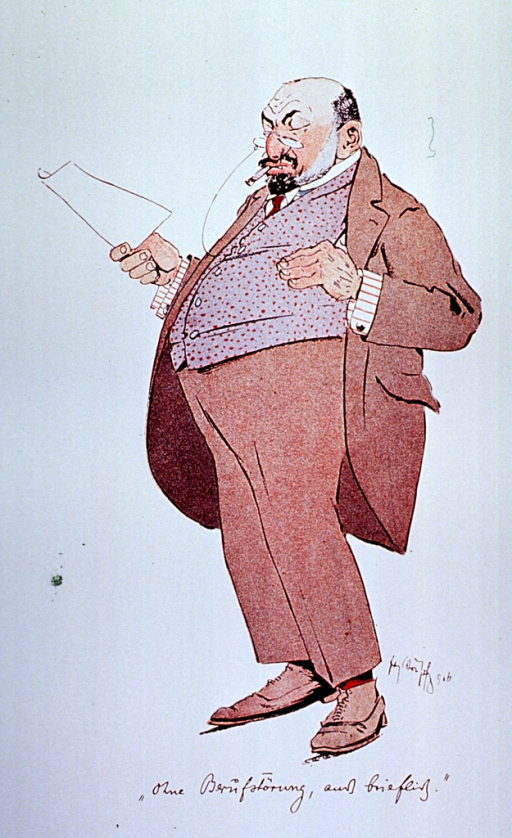 <p>Caricature: a physician standing full length, wearing glasses, and holding a piece of paper.</p>