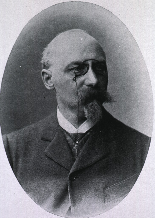 <p>Head and shoulders, turned slightly to right, wearing pince-nez.</p>