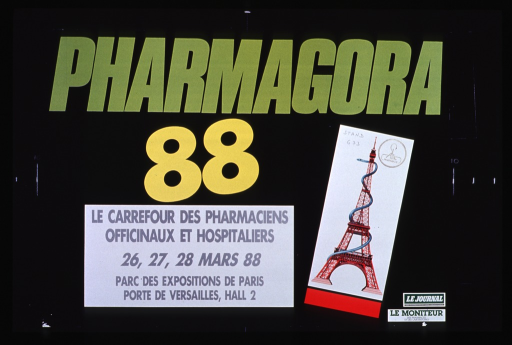 <p>Predominantly black poster with multicolor lettering announcing meeting, March 1988.  Also lists dates and location.  Title at top of poster.  Note below title indicates that the meeting is for both office and hospital pharmacists.  Visual image is a postcard-like illustration of a serpent wound around the Eiffel tower.  Sponsor logos in lower right corner.</p>