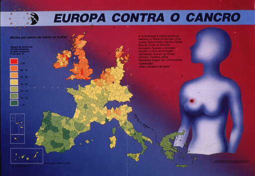 <p>Multicolor poster with blue and black lettering.  Title at top of poster.  Note below title on left side.  Visual images are a map of European Community member countries showing death rates from breast cancer in women and an abstract human figure with a cancer on the breast.  Death rates are highest in the UK, Denmark, and the Netherlands.  Additional text suggests that being overweight and a diet rich in animal fats may be risk factors for breast cancer.  Publisher information in lower left corner; name of agency responsible for the map in lower right corner.</p>