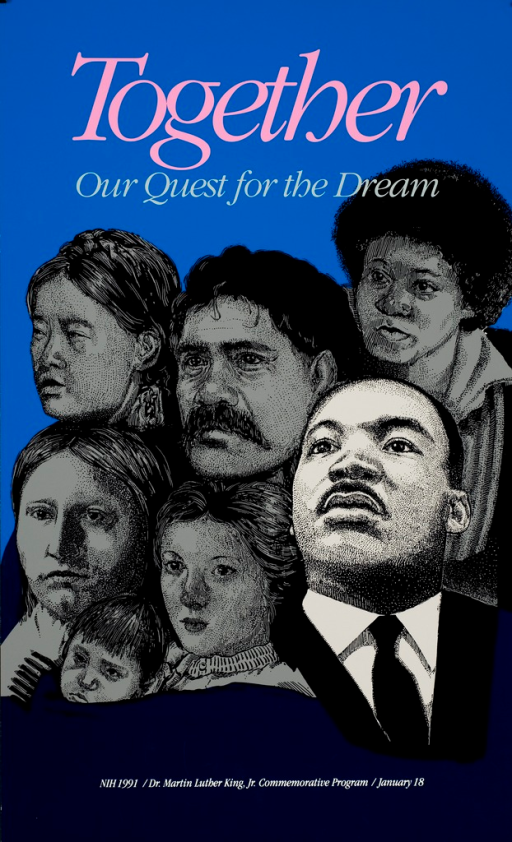 <p>A head and shoulders drawing of Dr. King is in the  lower corner of the poster.  Above his head and to his right are drawings of faces from different ethnic and age groups.</p>