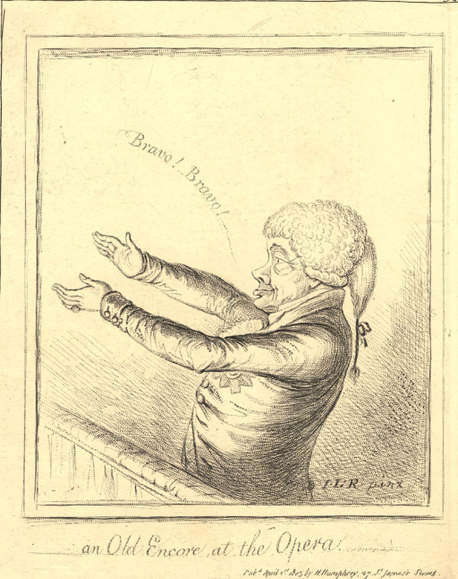 <p>A caricature of Lord Galloway, who was known to applaud loudly for any favorite performer.  In the print, he is shown standing in profile and extending his arms in order to clap.  &quot;Bravo! Bravo&quot; issues from his mouth.</p>