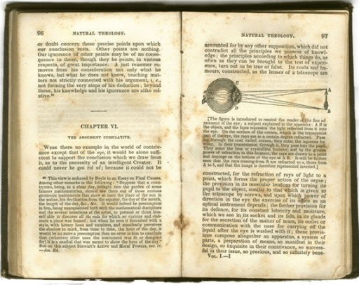 <p>Image of page 96 (text only) and 97 of William Paley's Natural theology, containing figure of an eyeball with a diagram of associated light refraction rays.</p>