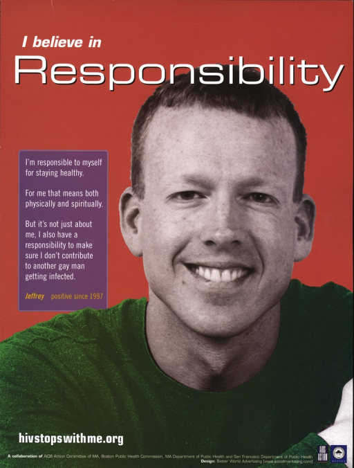 <p>A smiling young man in a green sweater, named Jeffrey, HIV positive since 1997, communicates a message about personal responsibility for staying healthy and for not spreading the disease to others.</p>