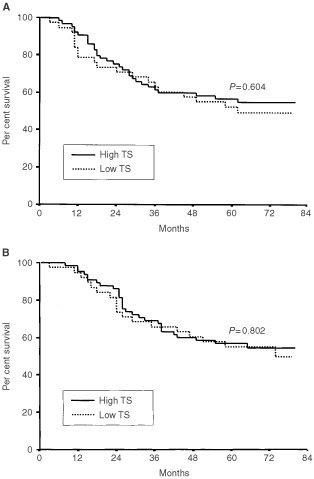 Disease-free survival (A) and overall survival (B) of gastric cancer patients according to TS expression.