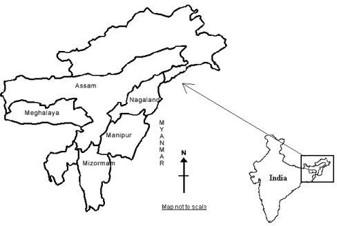 Map Of Northeastern Region Of India Indicating Study St Openi - Blank map of the northeast region of the us