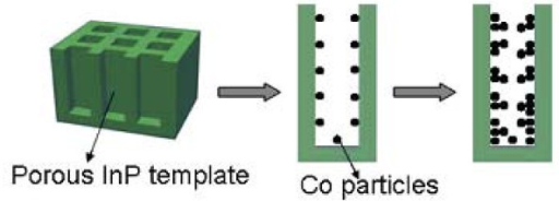 Schematic of fabrication process of Co/InP nanocomposite structure.