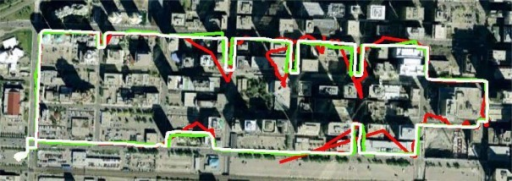Pedestrian testing results collected using the NavCube in the dense urban canyon environment of downtown Calgary. The white trace is the truth trajectory produced by a SPAN™ LCI tactical grade inertial navigation system (INS), the red trace is the trajectory produced by a GPS+GLONASS GNSS receiver and the green trace is derived from combined GPS+GLONASS with IMU, barometric, and magnetic field measurements [38].