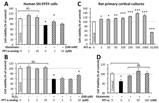 p53 inhibition by PFT-α/analog inhibits glutamate-induced excitotoxicity and oxidative stress mediated loss of cell viability in neuronal cultures.Human SH-SY5Y cells were subjected to p53 inactivation (PFT-α analog 1 to 10 μM) and then challenged with (A) glutamate (100 mM) excitotoxicity or (B) oxidative stress (H2O2: 500 μM). These insults alone significantly reduced cellular viability (* p<0.05 vs. control, Dunnetts t-test), which was mitigated by p53 inactivation (# p<0.05 vs. glutamate alone, Dunnetts t-test). (C) Rat primary cortical neuron cultures undergo time-dependent degeneration [44] that was mitigated by the addition of PFT-α (2 nM to 1 μM; * p<0.05, ** p<0.01, *** p<0.001 vs. untreated controls that are expressed as 100% (Dunnett's t-test). A 10 μM PFT-α concentration proved to be toxic to primary neurons (*** p<0.001 vs. untreated controls; Dunnett's t-test). (D) In an alike manner to SH-SY5Y cells, exposure of primary cortical neurons to glutamate (100 μM) resulted in reduced survival (* p<0.05 vs. control, Dunnetts t-test),) and pre-treatment with 2 to 100 nM PFT-α ameliorated this (NS not significantly different from untreated controls, Dunnetts t-test). Analysis of viable neurons was undertaken by MTS assay at 24 hr.