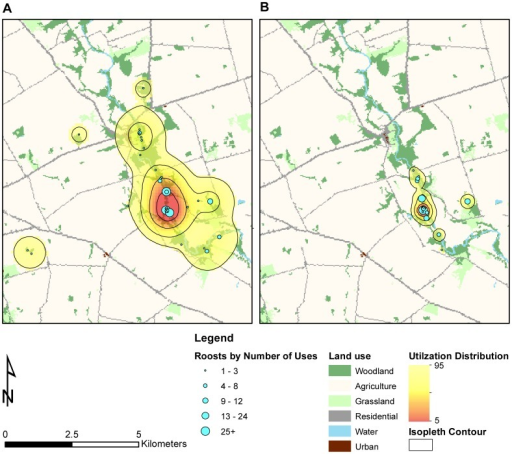 Indiana bat (Myotis sodalis) roosting areas.Bivariate fixed kernel density roosting area utilization distributions and day-roost locations of an Indiana bat (Myotis sodalis) maternity colony in Pickaway County, Ohio, USA in 2009 (A) and 2010 (B). Estimation of the utilization distributions was conducted using the pooled locations from all radio-tagged bats and weighted by the number of uses of individual roosts. Roost size is log scaled by the number of uses to show the relative contribution to the utilization distribution. The 25, 50, 75, and 95% home range contour intervals are shown.