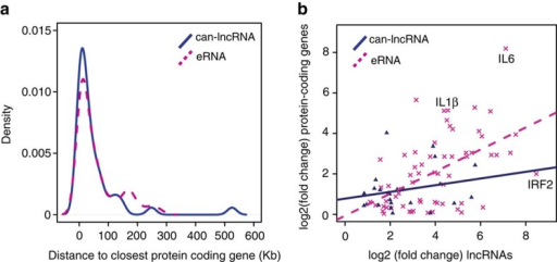 eRNA expression correlates with protein-coding gene expression.(a) Distribution of distances from the closest expressed protein-coding gene for eRNAs and can-lncRNAs. (b) Correlation between absolute fold changes for eRNAs and can-lncRNAs with their nearest expressed protein-coding gene neighbour.