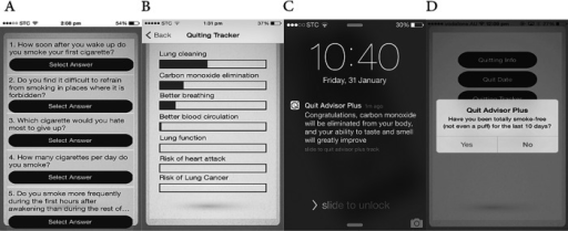 Screenshots of the study app (A is a screenshot of the baseline questionnaire, B a quitting benefits tracker, C a notification message when a quitting benefit accomplished and D the follow-up process).