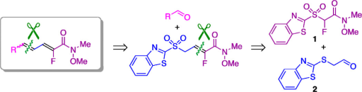 Retrosynthetic analysis for the preparation of conjugated dieneamides.