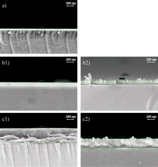 Left hand column, annealed (130 °C) and freeze fractured samples: (a) PEDOT:PSS reference, thickness 47 nm; (b1) PEDOT:PSS on spin-coated NFC-G, thickness 138–145 nm; (c1) PEDOT:PSS on drop cast NFC-G, thickness 438–458 nm. Right hand column samples without annealing and freeze fracturing: (b2) PEDOT:PSS on spin-coated NFC-G, thickness 127 nm; (c2) PEDOT:PSS on drop cast NFC-G, thickness 274 nm
