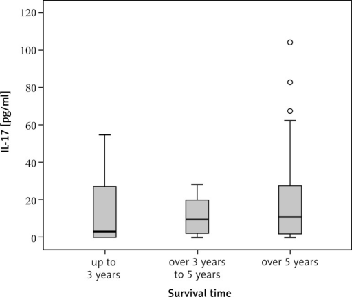 The concentration of IL-17 in the group studied depending on the 3-year and 5-year survival time