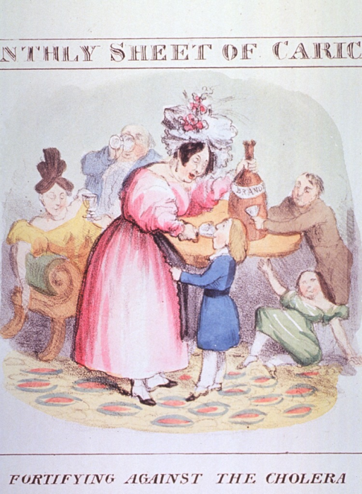 <p>A woman pours a glass of brandy into the mouth of a child; a girl has fallen the floor; men and women in the background show signs of being intoxicated, in the apparent belief that alcohol will prevent cholera.  On the table is a huge bottle of brandy.</p>