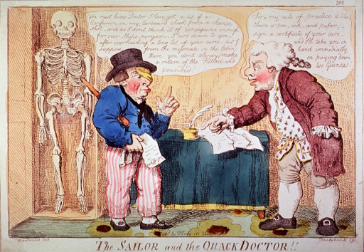 <p>Caricature of an injured sailor consulting a quack doctor; skeleton hanging in the background, seems to be watching the proceedings.</p>
