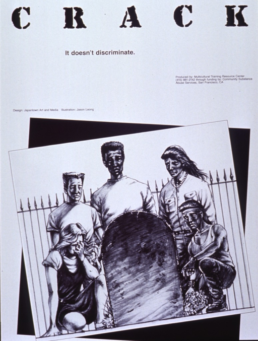 <p>Black and white poster.  Title at top of poster, along with publication information.  Dominant visual image is a reproduction of a pencil drawing.  The drawing shows five people of varying ethnicities clustered around a headstone.  People are clearly grieving.</p>