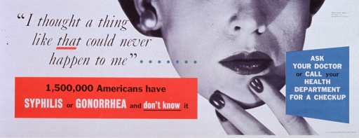 <p>White and red poster with black and white lettering.  Title in upper left corner.  Visual image is a reproduction of a b&amp;w photo of the lower portion of a woman's face.  The woman rests a few fingers on her chin.  Caption near lower left corner, note near lower right corner.</p>