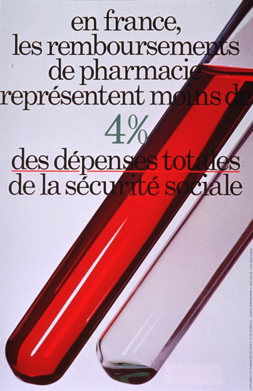 <p>Multicolor poster with black and green lettering.  Title dominates upper portion of poster.  Visual image is a reproduction of a color photo of two test tubes.  One test tube holds red liquid and is quite full.  The other holds a very small amount of green liquid.  Note on right side of poster indicates that the poster was part of a supplement to the publication &quot;Pharmacien de France.&quot;</p>