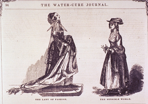 <p>Two women dressed in the fashions of the day.</p>