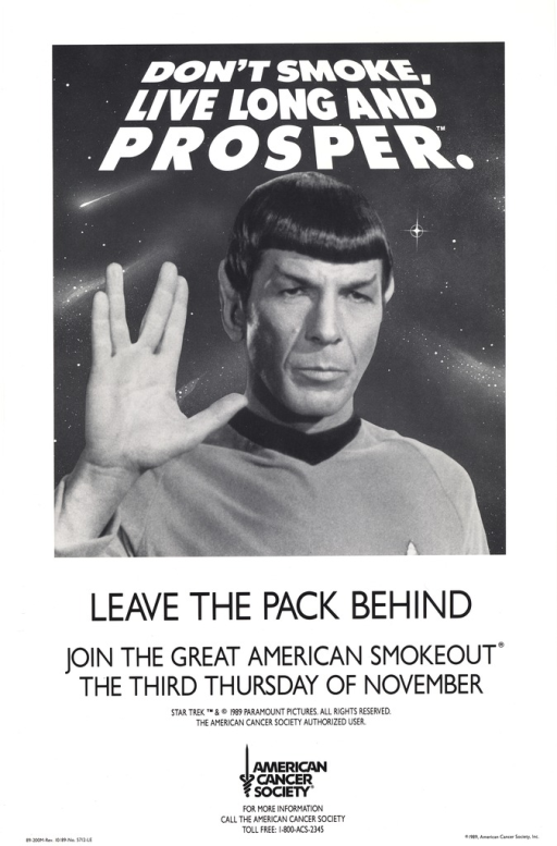 <p>Predominantly white poster with white and black lettering.  Title at top of poster.  Title superimposed on a b&amp;w photo reproduction featuring the actor Leonard Nimoy in his role as Mr. Spock, a character from the television series Star Trek.  Spock has his hand raised in his customary salute, a &quot;v&quot; shape formed by separating the middle and ring fingers.  Caption below photo.  Publisher information at bottom of poster.</p>