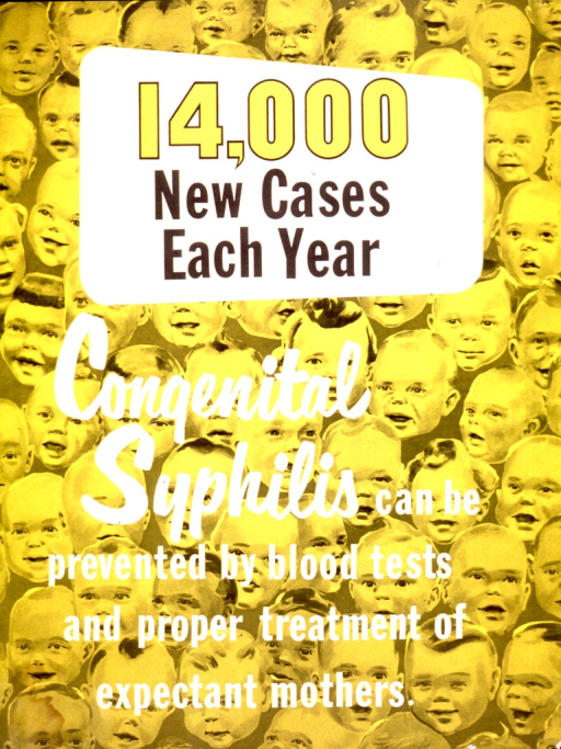 <p>The text of the poster is printed over rows of the faces of young children.</p>