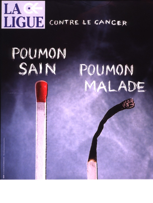 <p>Two matches are shown.  One is straight and unused, the other has been burned, and is blackened and leaning to the right.</p>