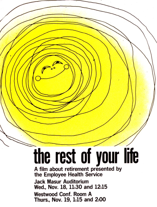 <p>The top two-thirds of the poster is a rough drawing of circles inside each other and a smiling face at the center, all in yellow to represent the sun.  The dates, times, and locations for the showings of the film are also listed.</p>