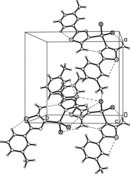 A partial packing diagram of (I). Hydrogen bonds are shown as dashed lines.