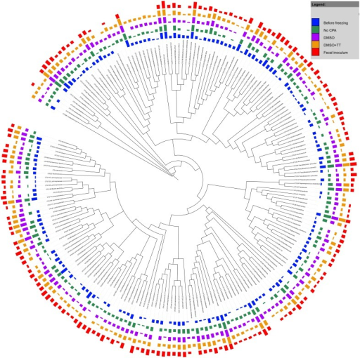 Phylogenetic tree of OTU consensus sequences in the fecal material samples.Sequences were aligned using the mothur implementation of the NAST algorithm with the Silva v102 reference alignment. RAxML was used to construct an extended majority rule bootstrap consensus tree with the GTR + GAMMA substitution model and 1000 bootstrap iterations. This bootstrap consensus tree was visualized using iTol. The colored bars represent treatment-wise means (n = 2 except for fecal inoculum n = 1) of the log transformed absolute abundances with the log transformation as suggested by Anderson and colleagues [74] with base 10. Before transformation the samples were rarefied to the lowest sequence count. Classification was done based upon the Greengenes taxonomy (adapted to mothur from [53]) with the naïve Bayesian classifier implemented in mothur (Wang algorithm). Black arrows indicate OTUs with differential abundance among the experimental conditions.