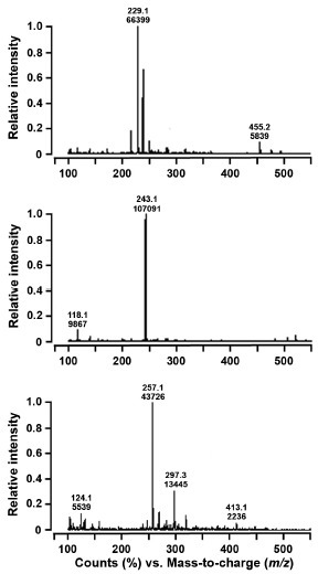 LC-MS analysis of resveratrol, pinostilbene and pterostilbene produced by recombinant E. coli cells. The molecular masses of resveratrol, pinostilbene and pterostilbene were analyzed with a linear ion trap quadrupole LC-MS at a positive mode of atmospheric pressure chemical ionization. Samples were taken from cell culture at 48 h after the addition of p-coumaric acid, and the extracted compounds were analyzed by LC-MS. The injection volume was 10 μl. Chromatograms (A), (B) and (C) represent the LC-MS spectra showing the peaks at m/z 229.2, 243.1 and 257.1 for reveratrol, pinostilbene and pterostilbene, respectively.