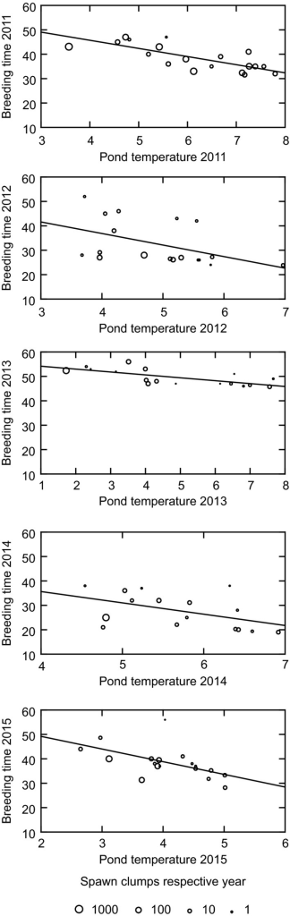 Breeding time in relation to pond temperature and size of breeding congregation. Breeding time is given as days after March 1. Temperature index is mean daily temperature from loggers during the period of monitoring (different for different years). Population size is estimated as number of spawn clumps in the pond.