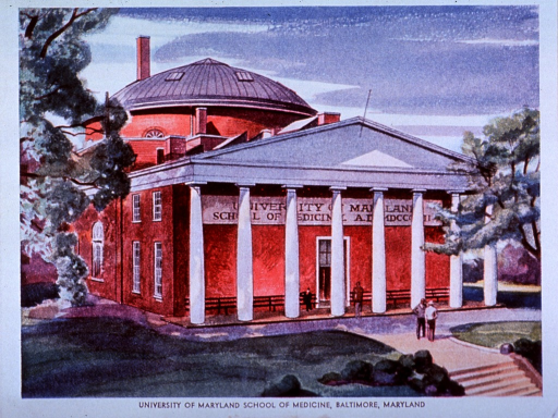 <p>An advertisement for metandren uses an exterior view of the school of medicine; benches are behind the columns; two men are standing on the landing; a domed building is in the background.</p>